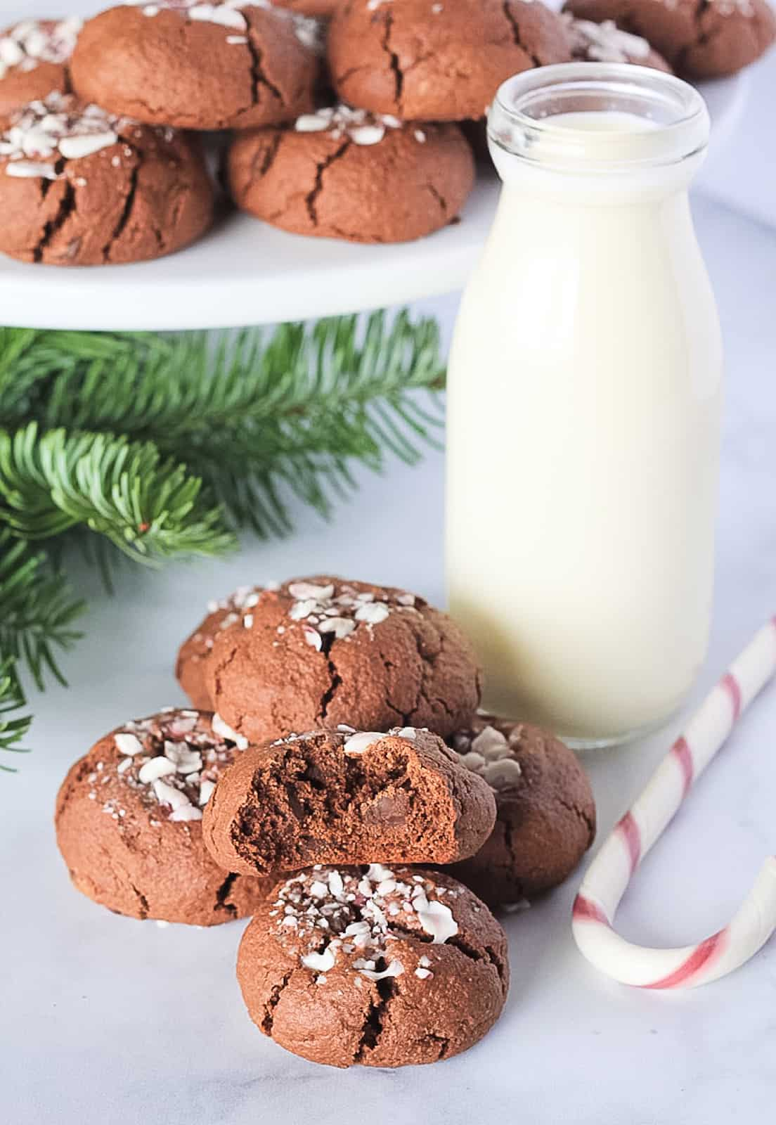 White plate and stack of double chocolate cookies with candy cane topping. Pine branch, glass of milk and bite out of cookie.