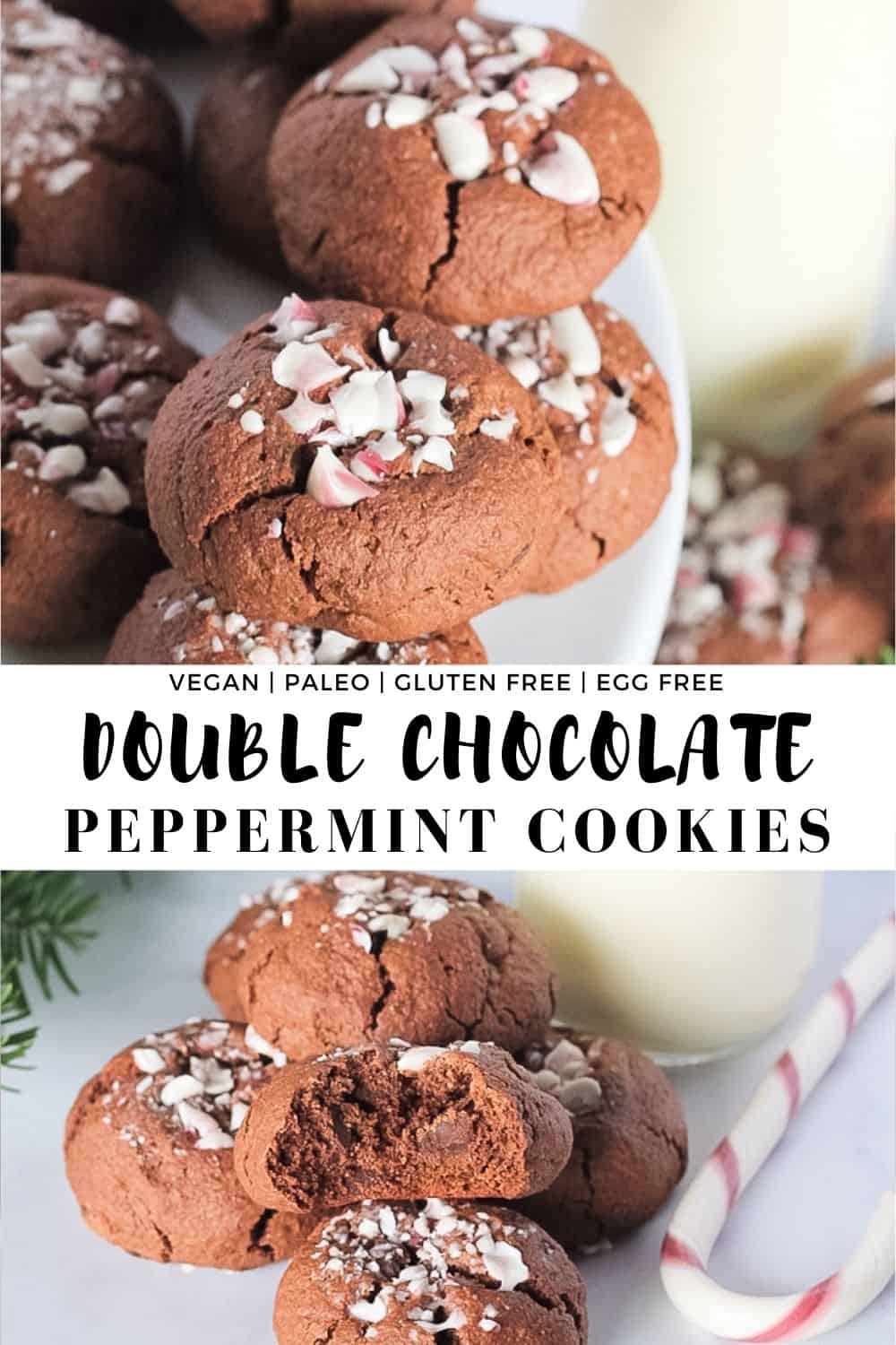 White plate of double chocolate peppermint cookies sprinkled with candy canes. Glass of milk and Christmas pine tree with recipe title.