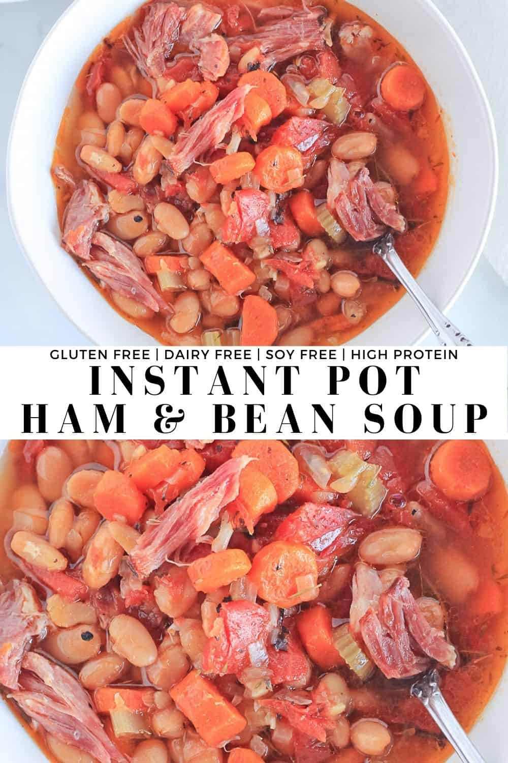 Two combined pictures of Instant Pot Ham and Bean Soup.