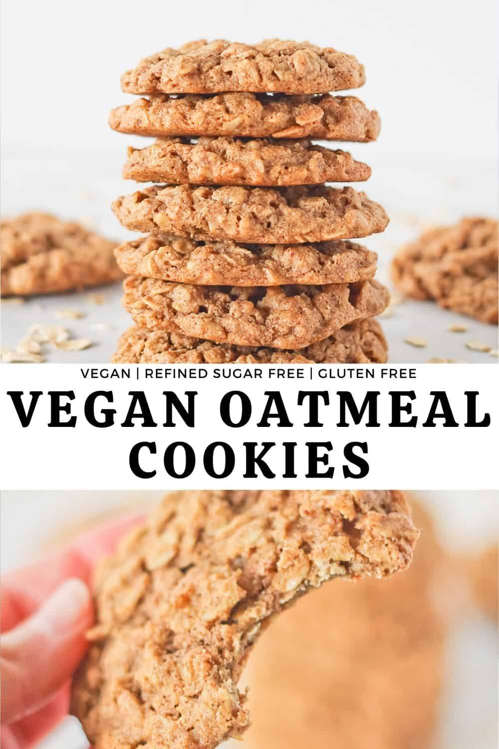 Combined picture of Vegan Oatmeal Cookies in a cookie stack and with a bite taken from one.