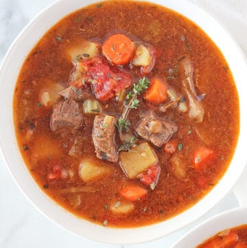 Stew with vegetables, meat and thyme in a white bowl.