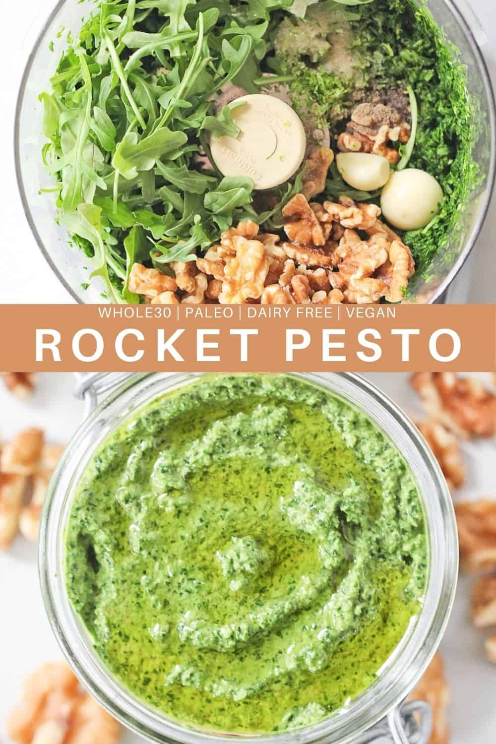 Rocket Pesto in a food processor.