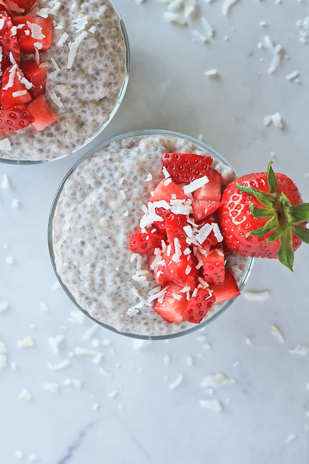 Top view of whole30 chia seed pudding.