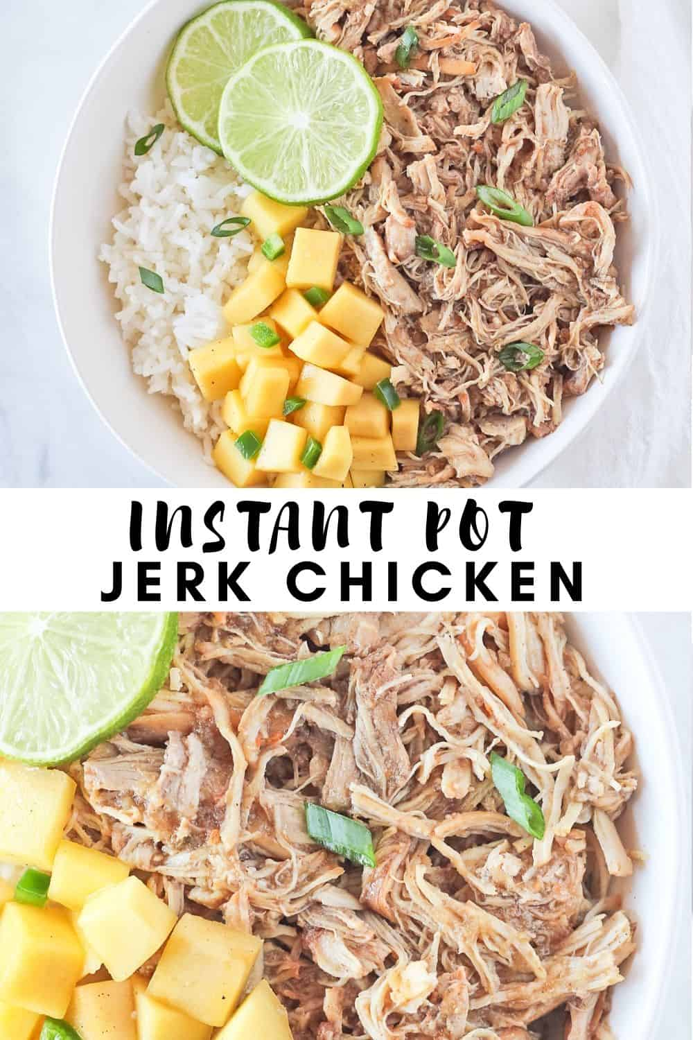 Two pictures with recipe title of jerk chicken in the pressure cooker.