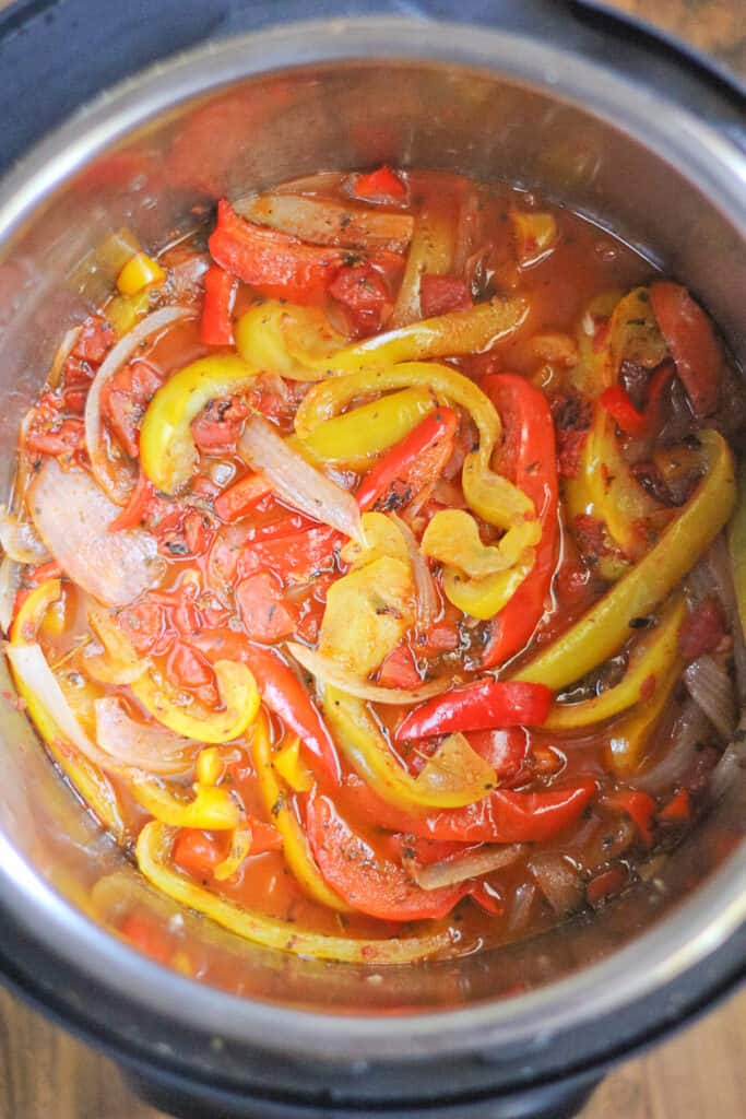 Cooked Instant Pot Peppers, onions and garlic.