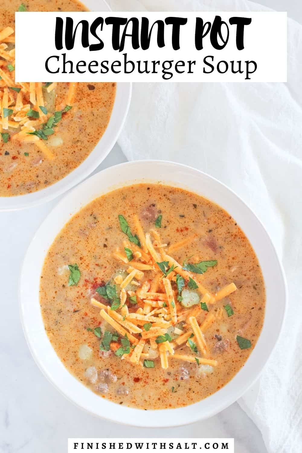 Recipe title and picture of two bowls of soup.