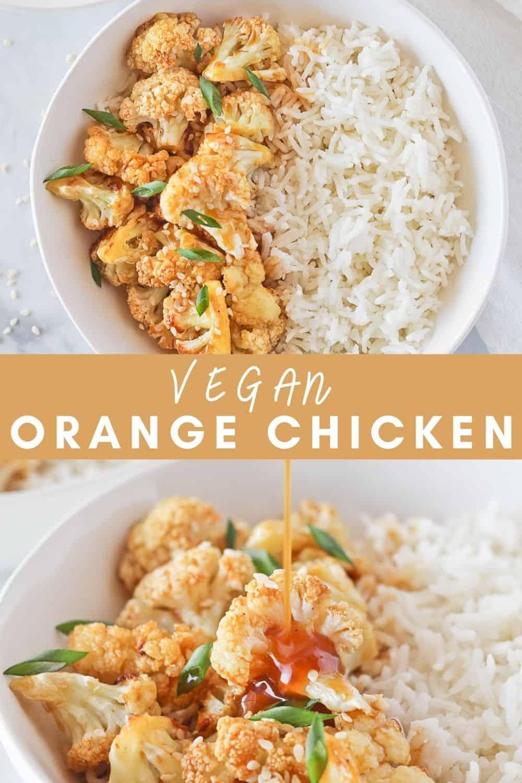 Two white bowls of Vegan Orange Chicken with cauliflower and homemade orange sauce.
