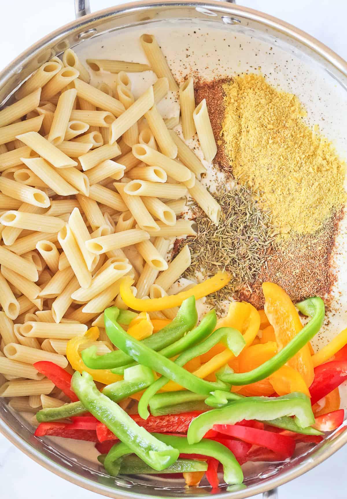 Vegan Rasta Pasta Ingredients.